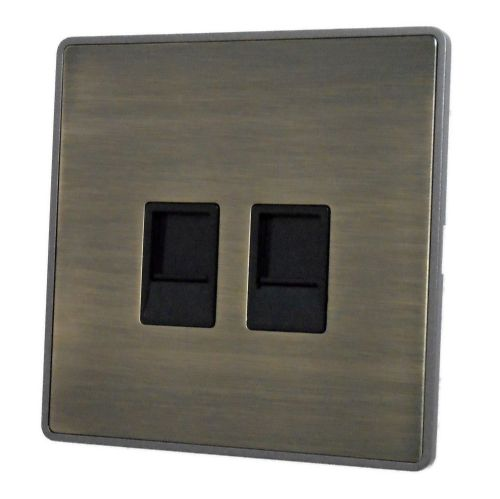 G&H LAB63B Screwless Antique Bronze 2 Gang Master BT Telephone Socket